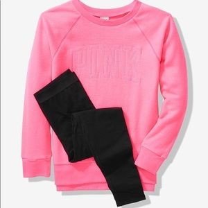 PINK Victoria's Secret Tops - 💕VS PINK FLAWLESS PINK CREW & LEGGING GIFT SET